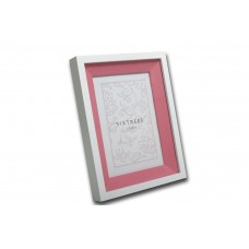 "4x6"" White Wood Frame with Pink Inlay - Sale"